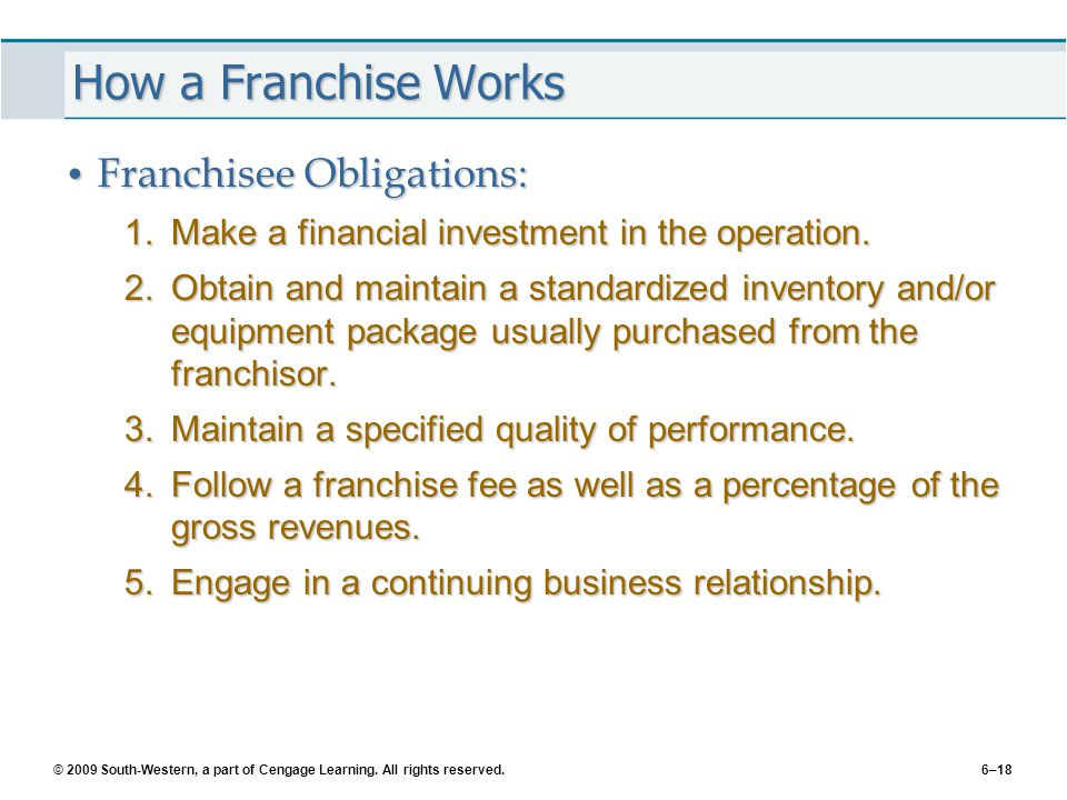 © 2009 South-Western, a part of Cengage Learning. All rights reserved.6–18 How a Franchise Works Franchisee Obligations: Franchisee Obligations: 1.Mak