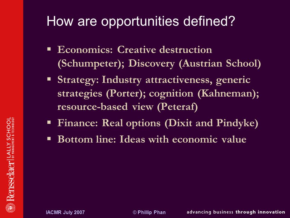 © Phillip PhanIACMR July 2007 What is an entrepreneurial opportunity.
