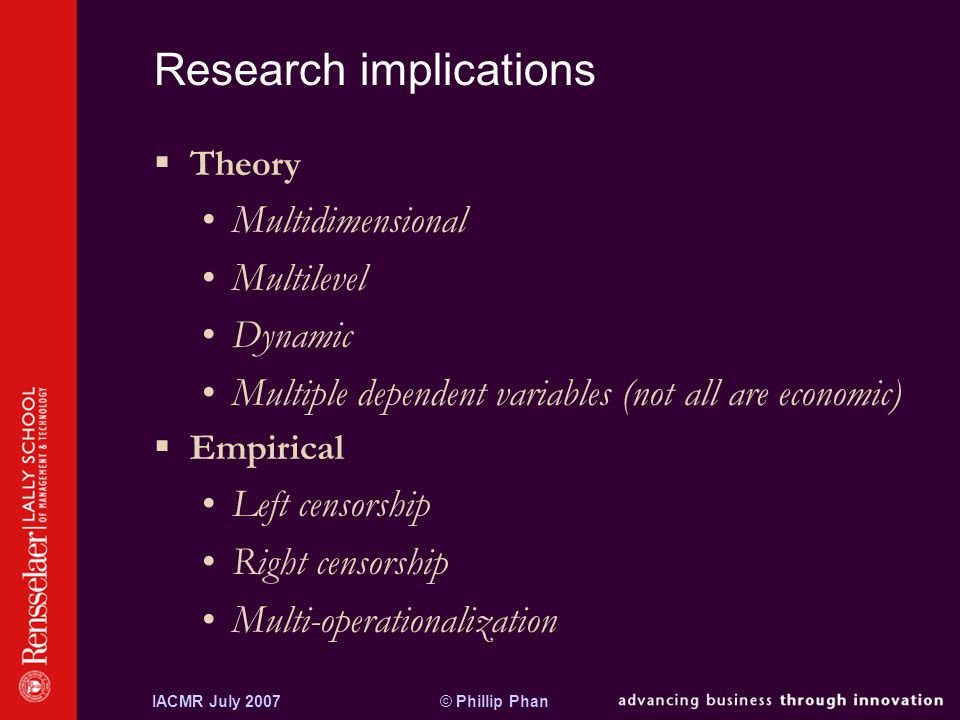 © Phillip PhanIACMR July 2007 Research implications  Theory Multidimensional Multilevel Dynamic Multiple dependent variables (not all are economic)  Empirical Left censorship Right censorship Multi-operationalization
