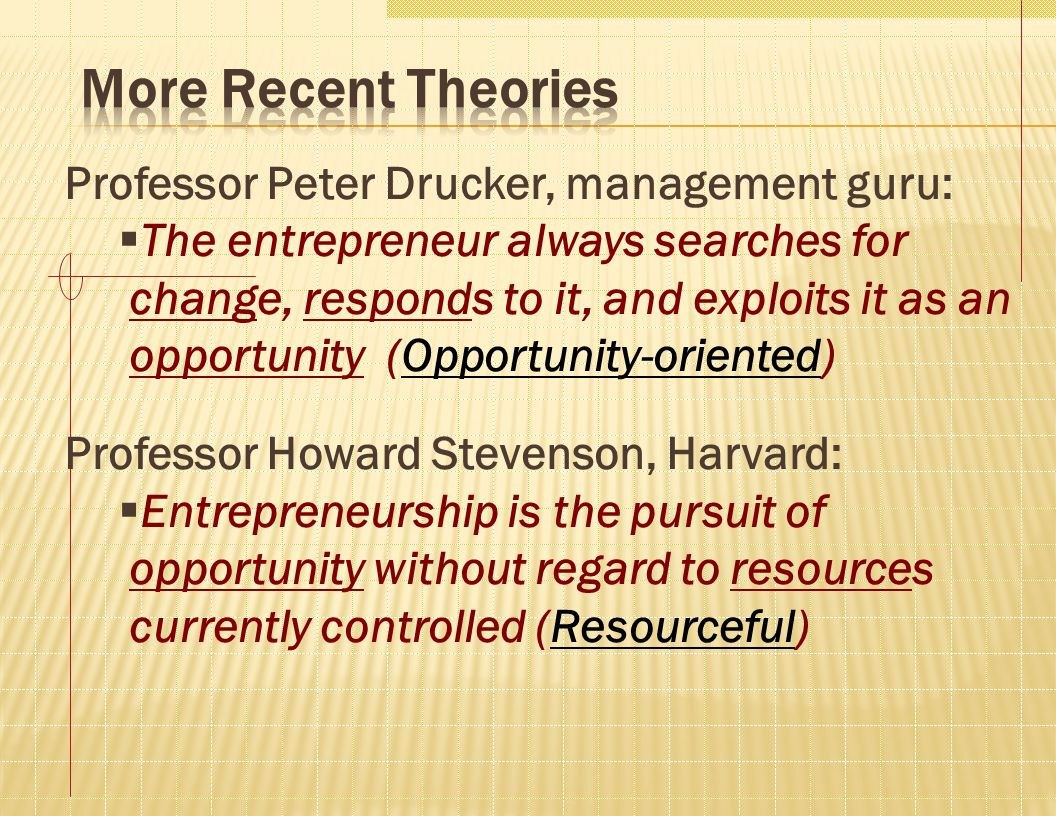 Professor Peter Drucker, management guru:  The entrepreneur always searches for change, responds to it, and exploits it as an opportunity (Opportunit