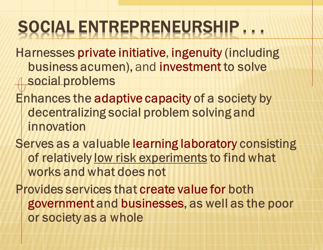 Harnesses private initiative, ingenuity (including business acumen), and investment to solve social problems Enhances the adaptive capacity of a socie
