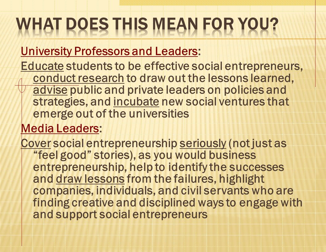 University Professors and Leaders: Educate students to be effective social entrepreneurs, conduct research to draw out the lessons learned, advise pub