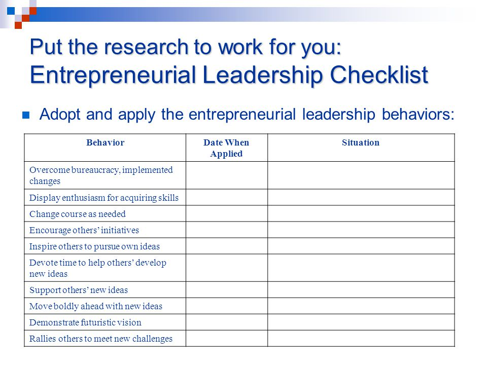 Put the research to work for you: Entrepreneurial Leadership Checklist Adopt and apply the entrepreneurial leadership behaviors: BehaviorDate When Applied Situation Overcome bureaucracy, implemented changes Display enthusiasm for acquiring skills Change course as needed Encourage others' initiatives Inspire others to pursue own ideas Devote time to help others' develop new ideas Support others' new ideas Move boldly ahead with new ideas Demonstrate futuristic vision Rallies others to meet new challenges