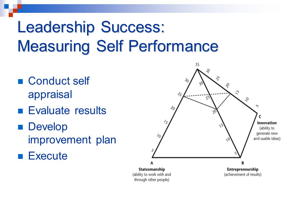 Leadership Success: Measuring Self Performance Conduct self appraisal Evaluate results Develop improvement plan Execute