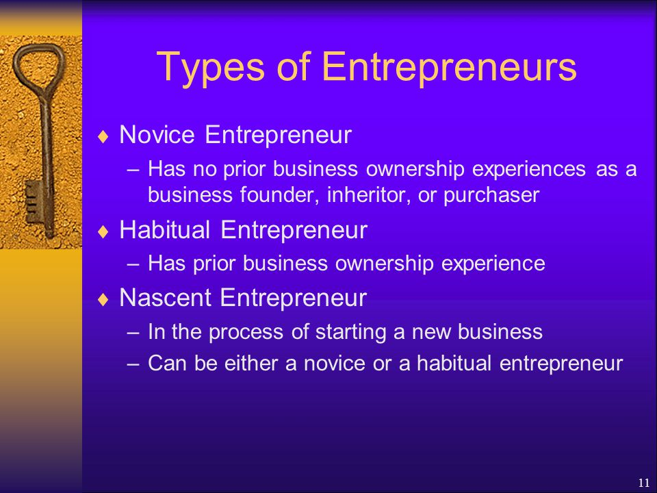 11 Types of Entrepreneurs  Novice Entrepreneur –Has no prior business ownership experiences as a business founder, inheritor, or purchaser  Habitual Entrepreneur –Has prior business ownership experience  Nascent Entrepreneur –In the process of starting a new business –Can be either a novice or a habitual entrepreneur