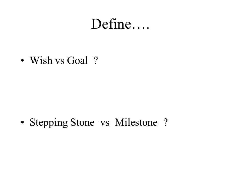 Define…. Wish vs Goal ? Stepping Stone vs Milestone ?