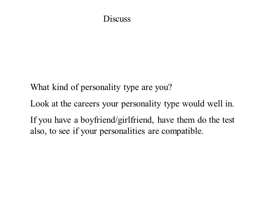 Discuss What kind of personality type are you.