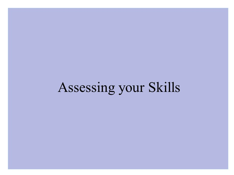 Assessing your Skills