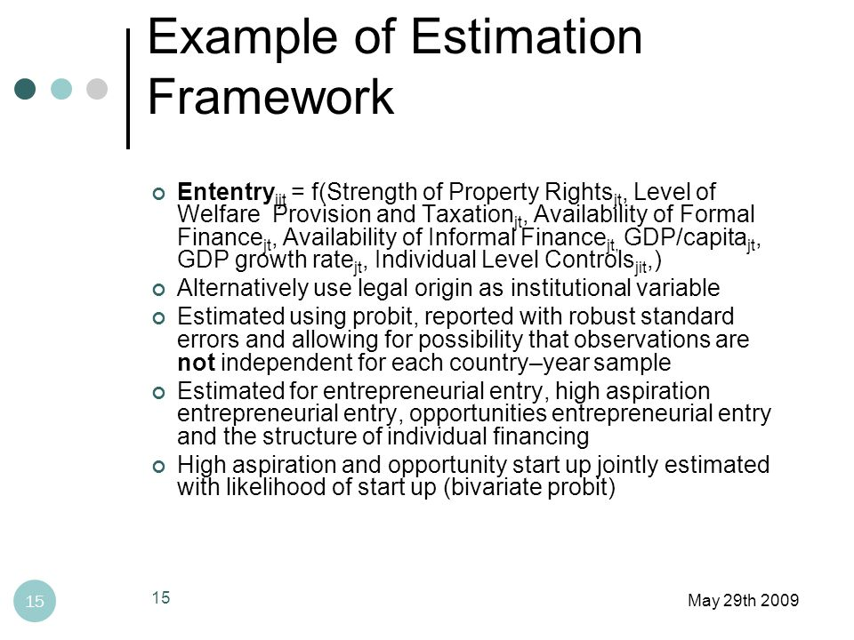 Example of Estimation Framework May 29th 2009 15 Ententry ijt = f(Strength of Property Rights jt, Level of Welfare Provision and Taxation jt, Availability of Formal Finance jt, Availability of Informal Finance jt, GDP/capita jt, GDP growth rate jt, Individual Level Controls jit,) Alternatively use legal origin as institutional variable Estimated using probit, reported with robust standard errors and allowing for possibility that observations are not independent for each country–year sample Estimated for entrepreneurial entry, high aspiration entrepreneurial entry, opportunities entrepreneurial entry and the structure of individual financing High aspiration and opportunity start up jointly estimated with likelihood of start up (bivariate probit) 15