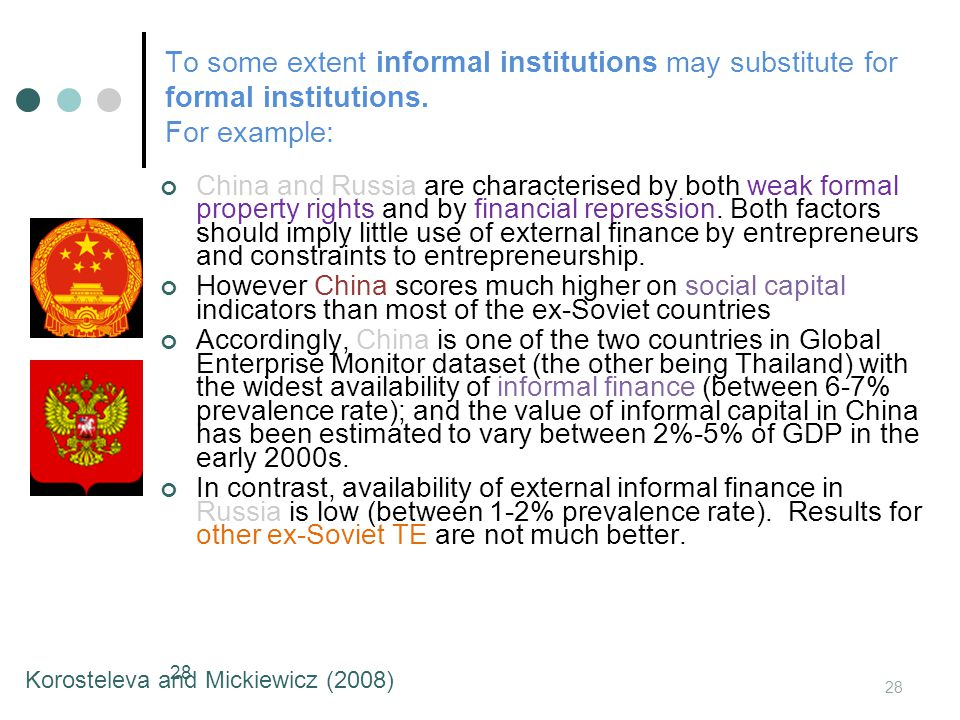 To some extent informal institutions may substitute for formal institutions.