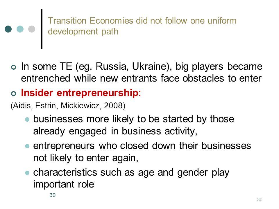 Transition Economies did not follow one uniform development path In some TE (eg.