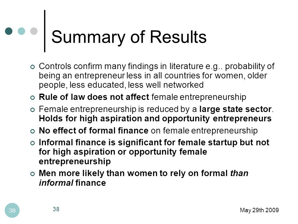 Summary of Results May 29th 2009 38 Controls confirm many findings in literature e.g..
