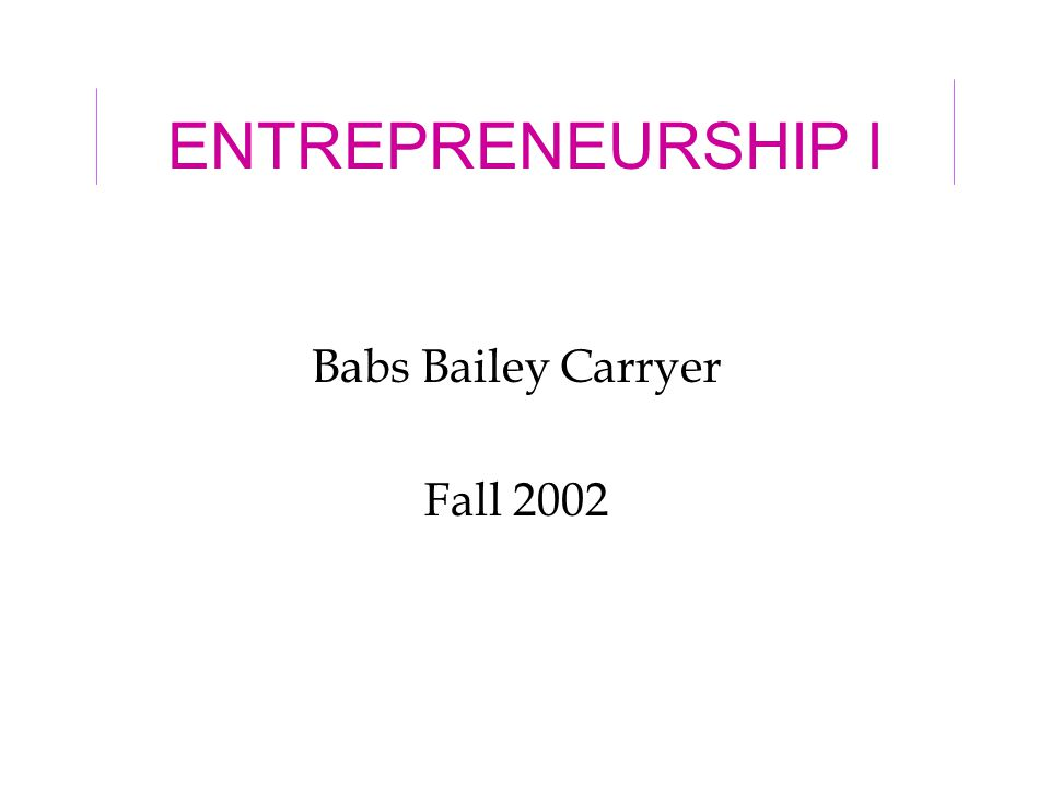 8/28/022 Goals of course To distinguish between an idea and a business opportunity –Inventor vs.