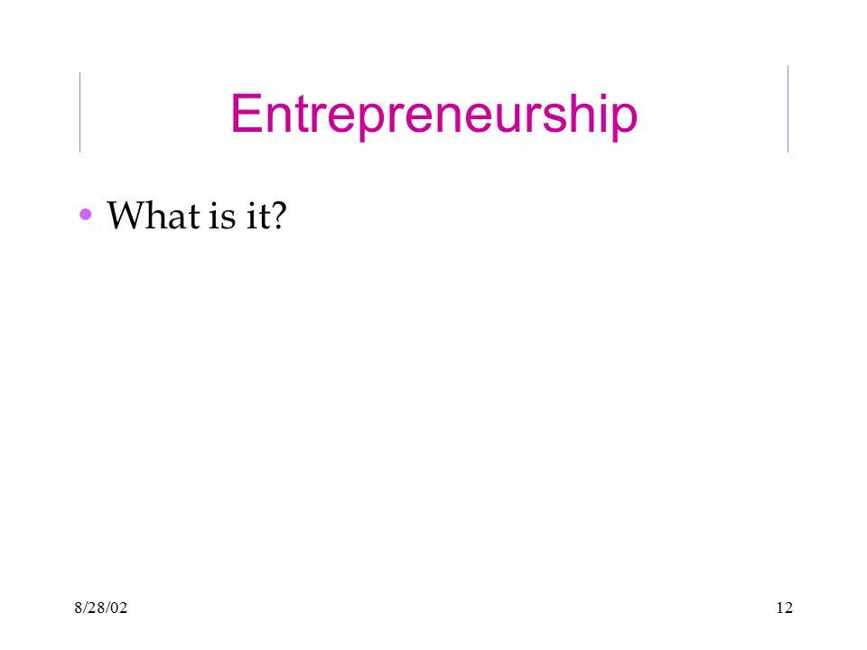 8/28/0212 Entrepreneurship What is it?