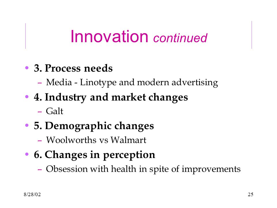 8/28/0225 Innovation continued 3. Process needs –Media - Linotype and modern advertising 4. Industry and market changes –Galt 5. Demographic changes –
