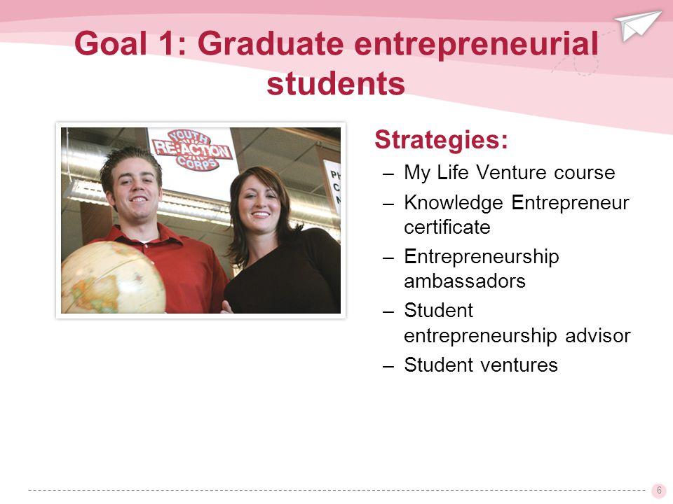 6 Strategies: –My Life Venture course –Knowledge Entrepreneur certificate –Entrepreneurship ambassadors –Student entrepreneurship advisor –Student ventures Goal 1: Graduate entrepreneurial students
