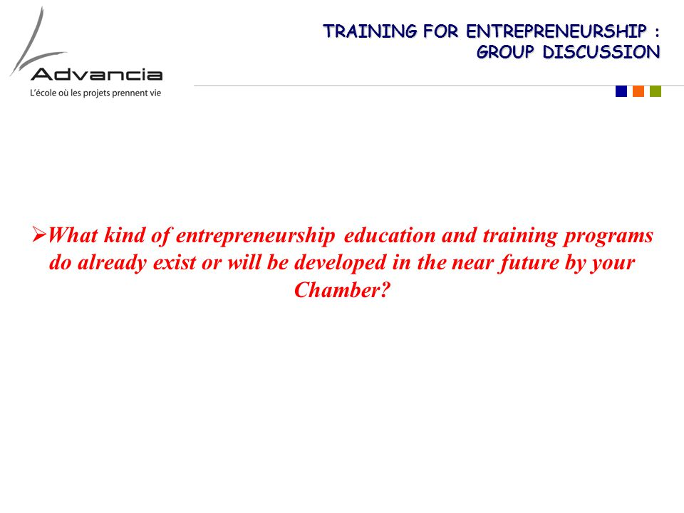 TRAINING FOR ENTREPRENEURSHIP : GROUP DISCUSSION  What kind of entrepreneurship education and training programs do already exist or will be developed in the near future by your Chamber?