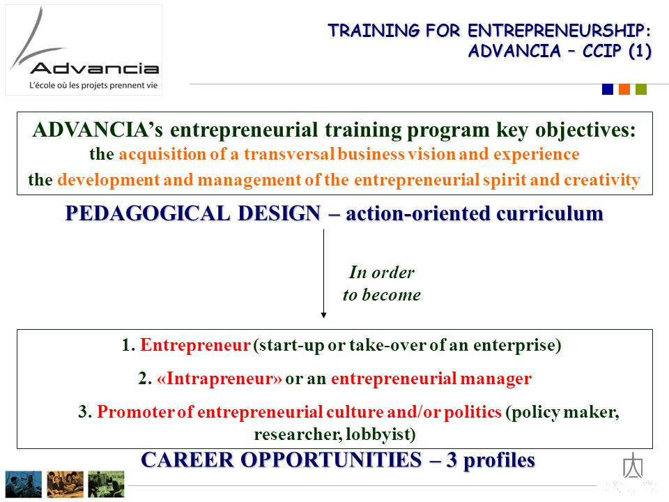 TRAINING FOR ENTREPRENEURSHIP: ADVANCIA – CCIP (1) ADVANCIA's entrepreneurial training program key objectives: the acquisition of a transversal business vision and experience the development and management of the entrepreneurial spirit and creativity 1.