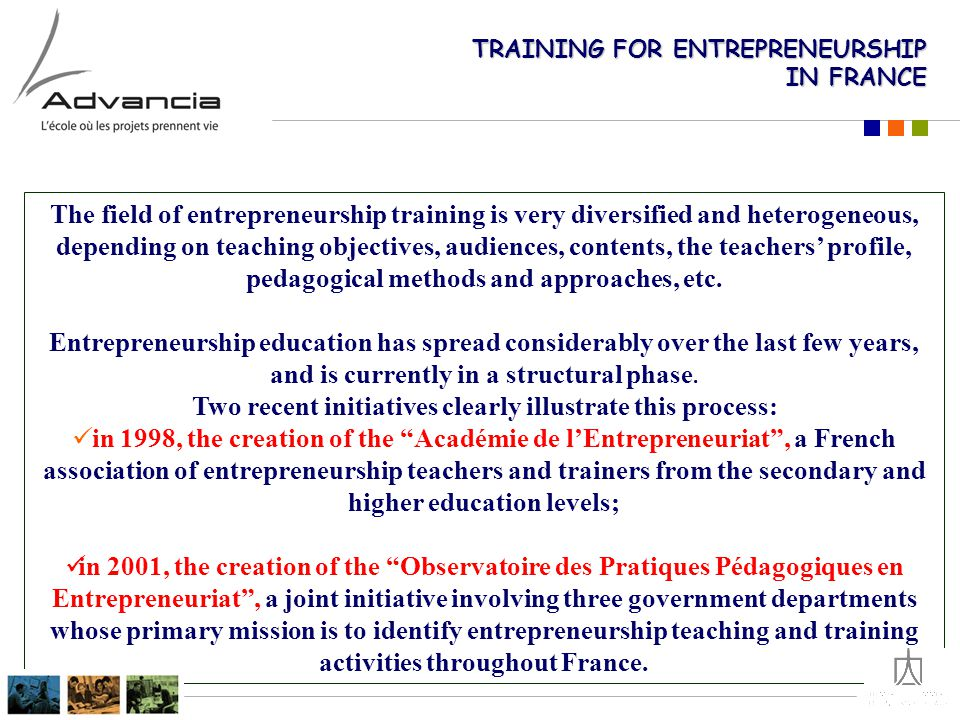 WHY : role of entrepreneurial education & training FOR WHOM: students vs adults (VT), learning styles WHAT: courses' content WHO SHOULD TEACH IT: - professors / entrepreneurs - profile & competencies HOW: educational approaches - methods and objectives - design of the curriculum TRAINING AND EDUCATIONAL RESSOURCES: - books, databases, case studies - human and financial resources EVALUATION's outcomes - how to measure educational effectiveness.