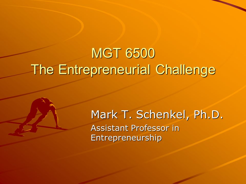 MGT 6500 The Entrepreneurial Challenge Mark T. Schenkel, Ph.D.