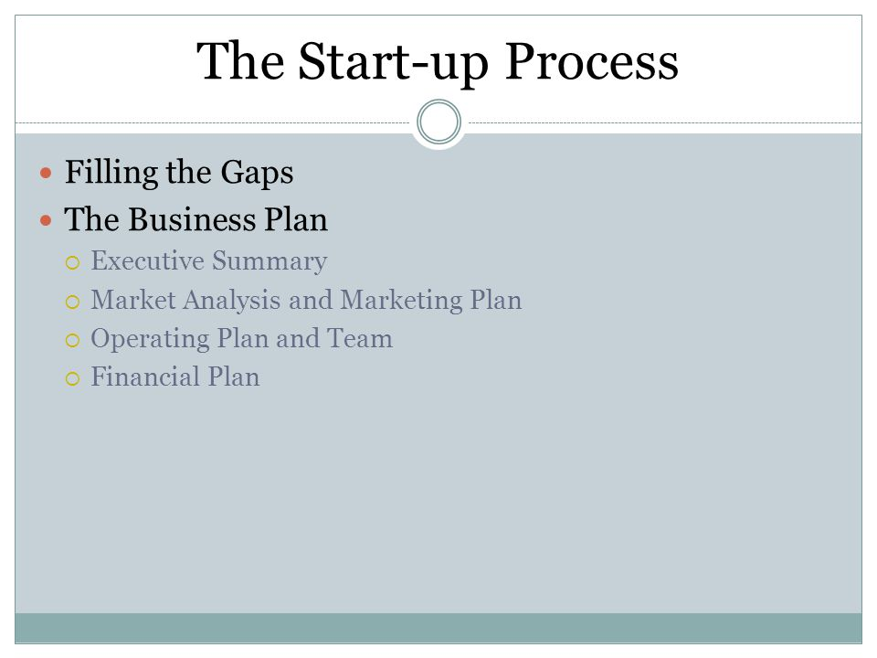 The Start-up Process Filling the Gaps The Business Plan  Executive Summary  Market Analysis and Marketing Plan  Operating Plan and Team  Financial Plan