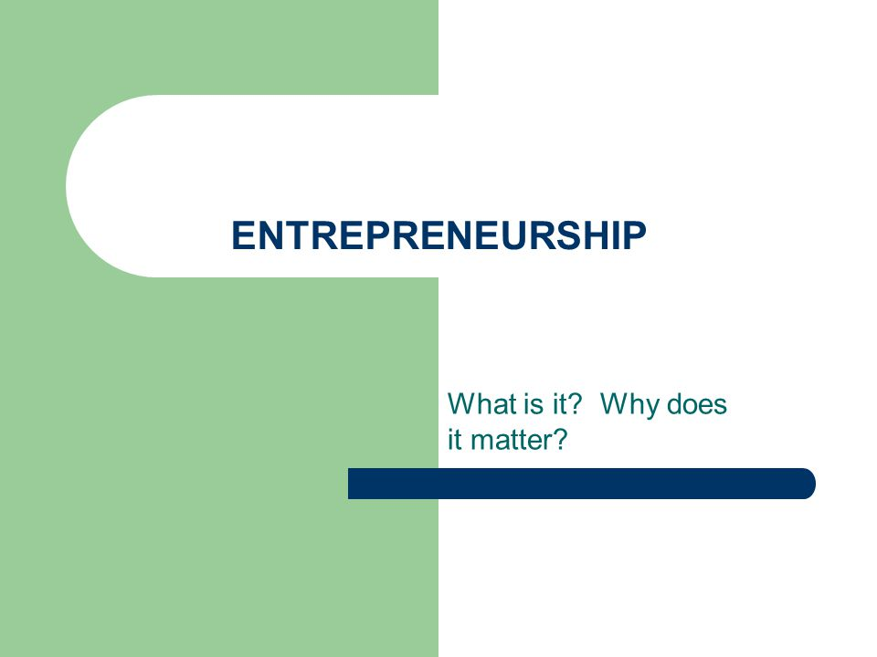 ENTREPRENEURSHIP What is it Why does it matter