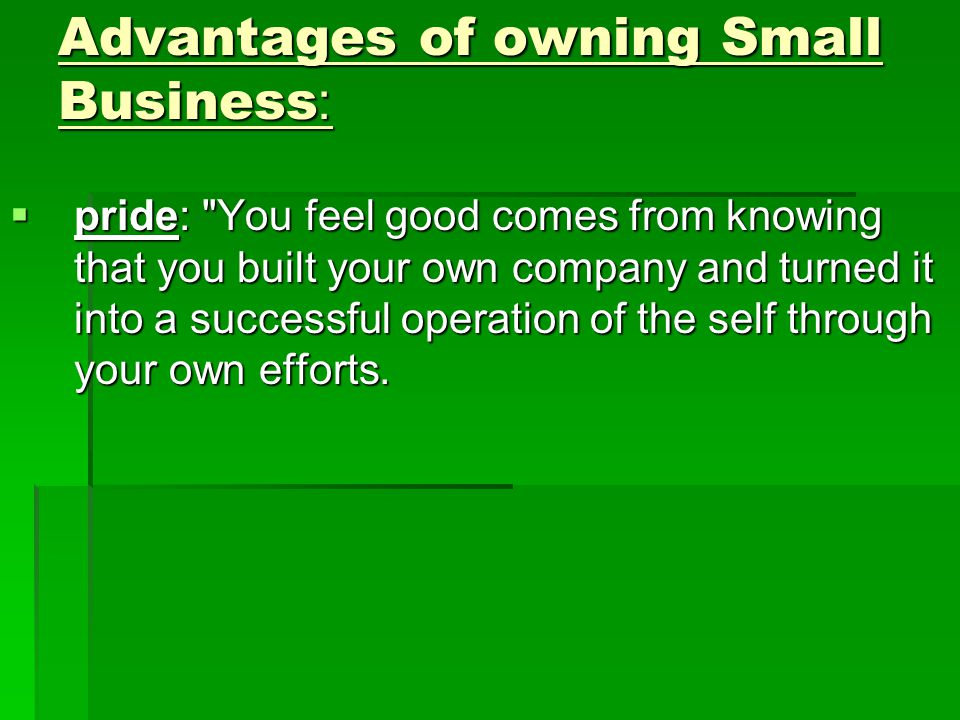 Advantages of owning Small Business:  pride: You feel good comes from knowing that you built your own company and turned it into a successful operation of the self through your own efforts.