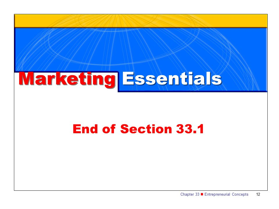 Chapter 33 Entrepreneurial Concepts 12 Marketing Essentials End of Section 33.1