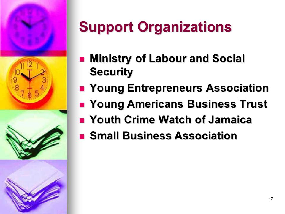Support Organizations Ministry of Labour and Social Security Ministry of Labour and Social Security Young Entrepreneurs Association Young Entrepreneurs Association Young Americans Business Trust Young Americans Business Trust Youth Crime Watch of Jamaica Youth Crime Watch of Jamaica Small Business Association Small Business Association 17