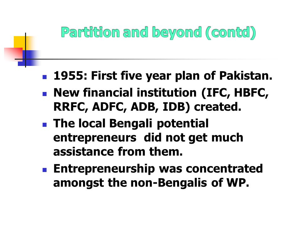 1955: First five year plan of Pakistan.