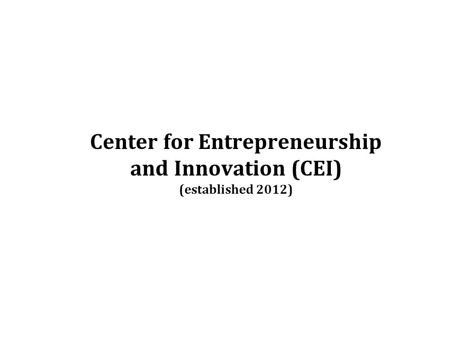 Center for Entrepreneurship and Innovation (CEI) (established 2012)