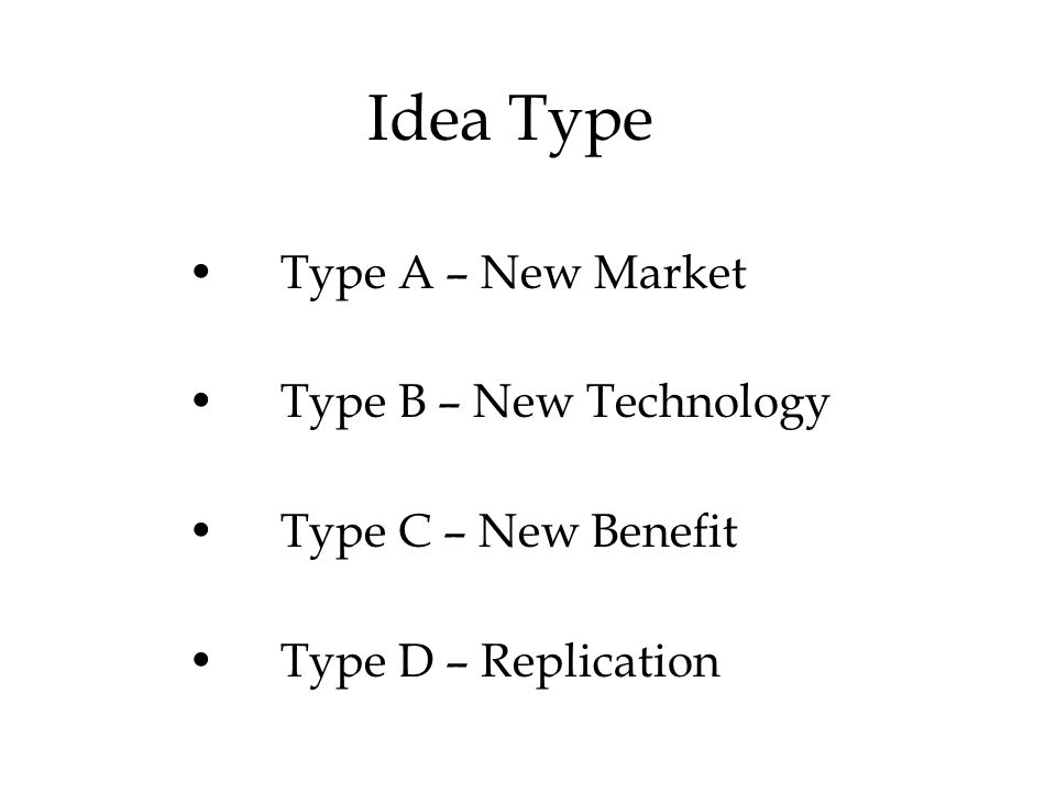 Idea Type Type A – New Market Type B – New Technology Type C – New Benefit Type D – Replication