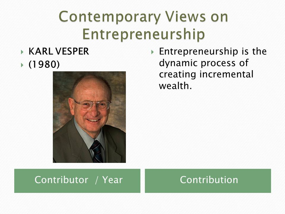 Contributor / YearContribution  KARL VESPER  (1980)  Entrepreneurship is the dynamic process of creating incremental wealth.