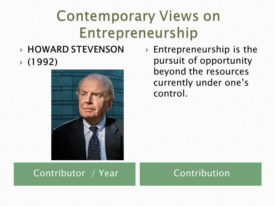 Contributor / YearContribution  HOWARD STEVENSON  (1992)  Entrepreneurship is the pursuit of opportunity beyond the resources currently under one's control.