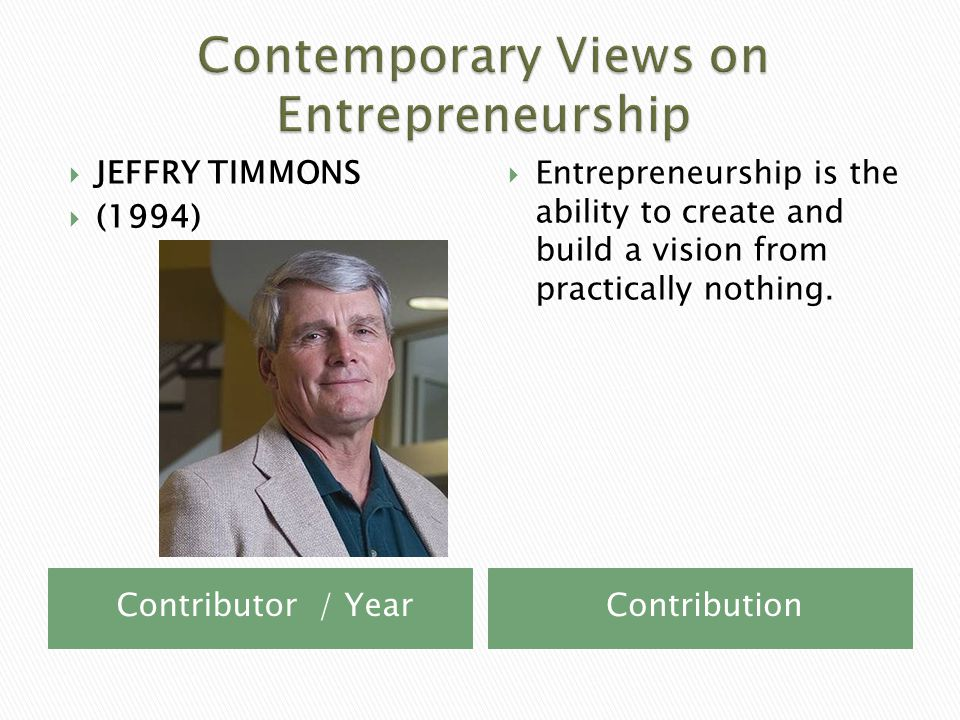 Contributor / YearContribution  JEFFRY TIMMONS  (1994)  Entrepreneurship is the ability to create and build a vision from practically nothing.