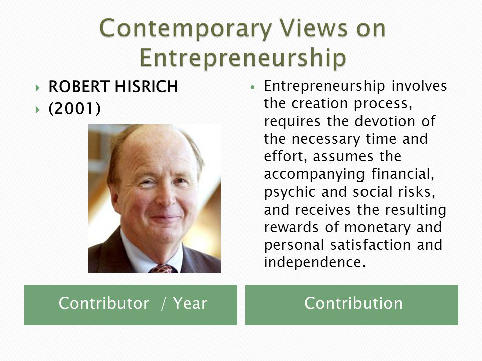 Contributor / YearContribution  ROBERT HISRICH  (2001) Entrepreneurship involves the creation process, requires the devotion of the necessary time and effort, assumes the accompanying financial, psychic and social risks, and receives the resulting rewards of monetary and personal satisfaction and independence.