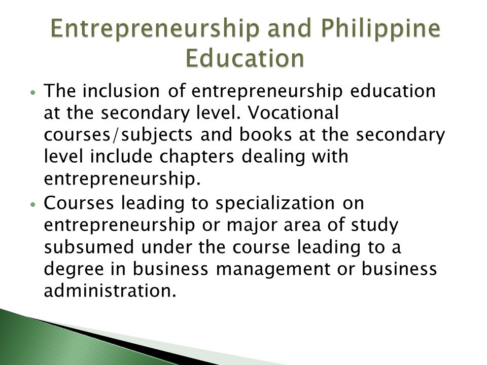 The inclusion of entrepreneurship education at the secondary level.