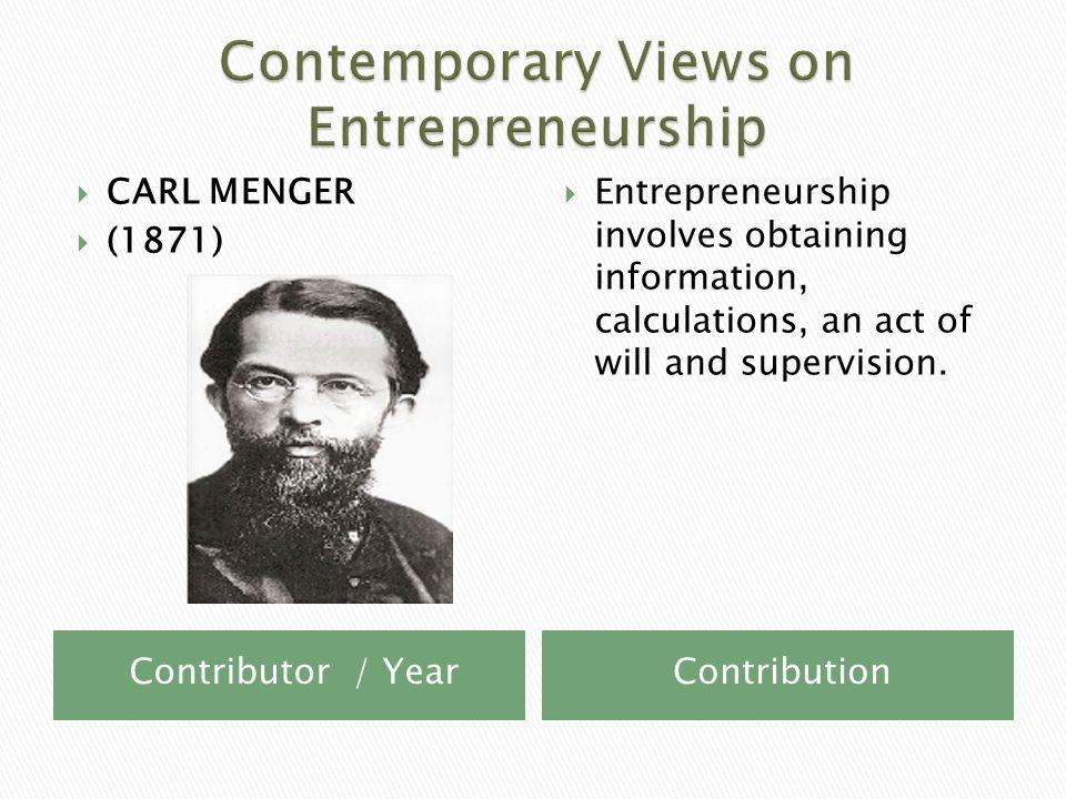 Contributor / YearContribution  HARVEY LEIBENSTEIN  (1970)  Entrepreneurship is the reduction of organizational inefficency.