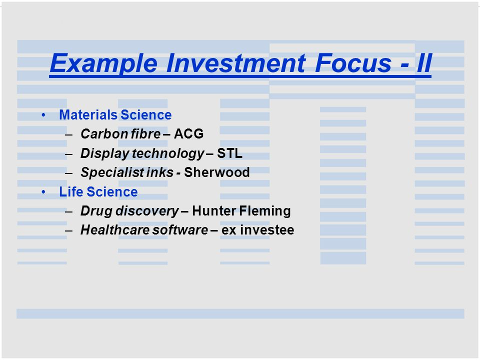 Example Investment Focus - II Materials Science –Carbon fibre – ACG –Display technology – STL –Specialist inks - Sherwood Life Science –Drug discovery