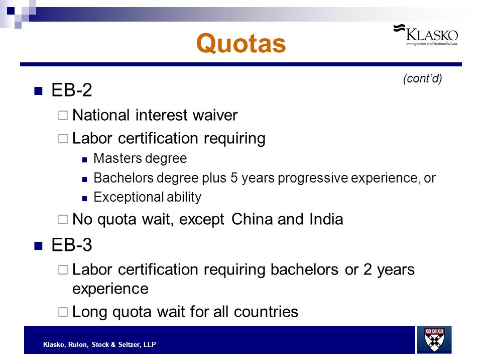 Klasko, Rulon, Stock & Seltzer, LLP Quotas EB-2  National interest waiver  Labor certification requiring Masters degree Bachelors degree plus 5 year