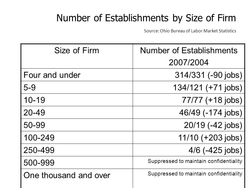 Number of Establishments by Size of Firm Source: Ohio Bureau of Labor Market Statistics Size of FirmNumber of Establishments 2007/2004 Four and under314/331 (-90 jobs) 5-9134/121 (+71 jobs) 10-1977/77 (+18 jobs) 20-4946/49 (-174 jobs) 50-9920/19 (-42 jobs) 100-24911/10 (+203 jobs) 250-4994/6 (-425 jobs) 500-999 Suppressed to maintain confidentiality One thousand and over Suppressed to maintain confidentiality