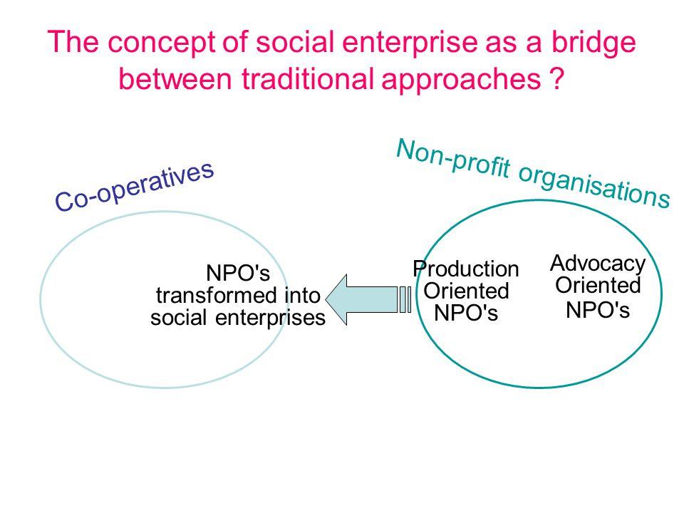 The concept of social enterprise as a bridge between traditional approaches .