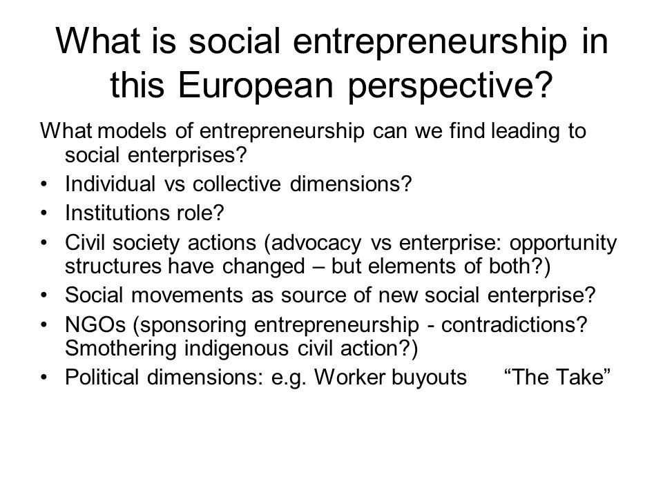 What is social entrepreneurship in this European perspective.