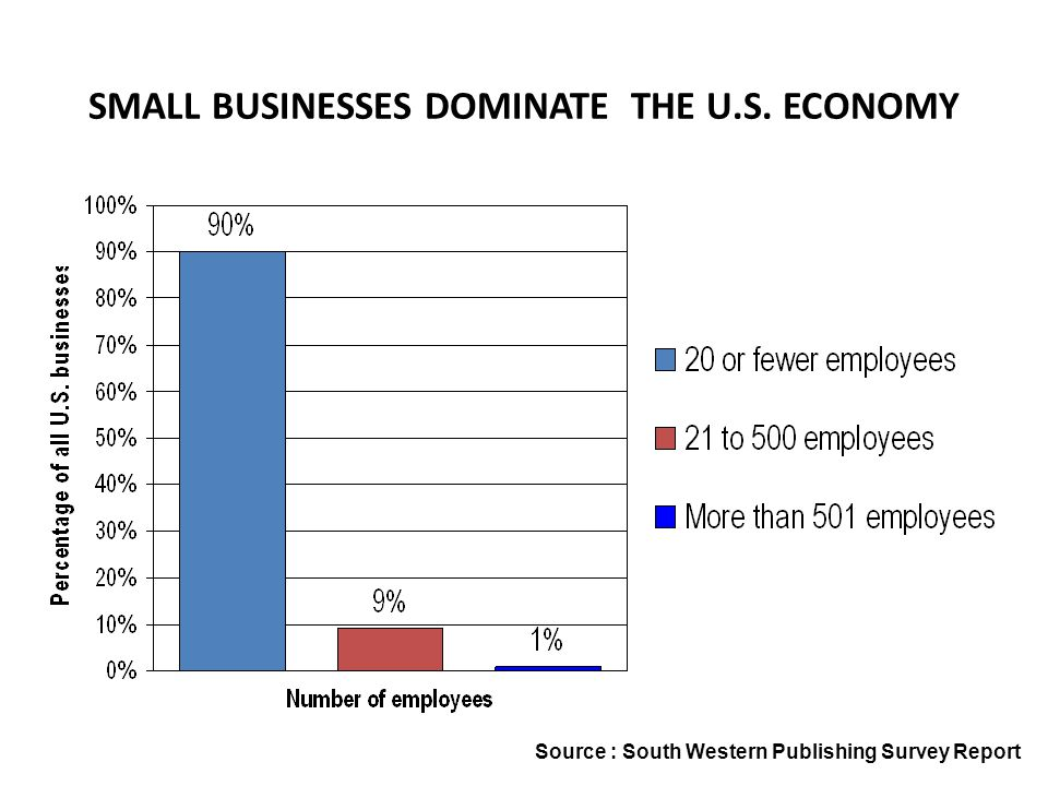 SMALL BUSINESSES DOMINATE THE U.S. ECONOMY Source : South Western Publishing Survey Report