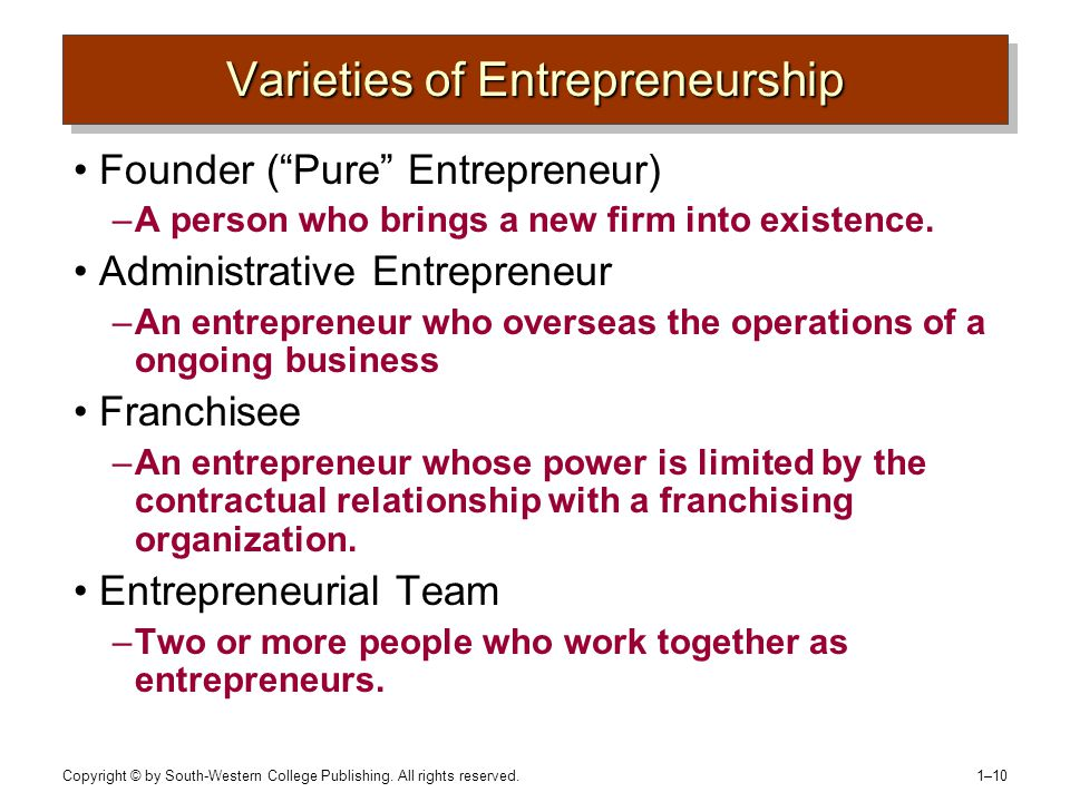 """Copyright © by South-Western College Publishing. All rights reserved. 1–10 Varieties of Entrepreneurship Founder (""""Pure"""" Entrepreneur) –A person who b"""