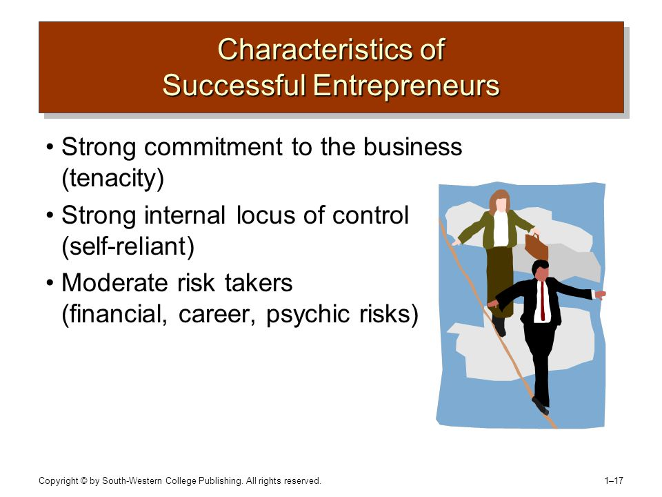 Copyright © by South-Western College Publishing. All rights reserved. 1–17 Characteristics of Successful Entrepreneurs Strong commitment to the busine