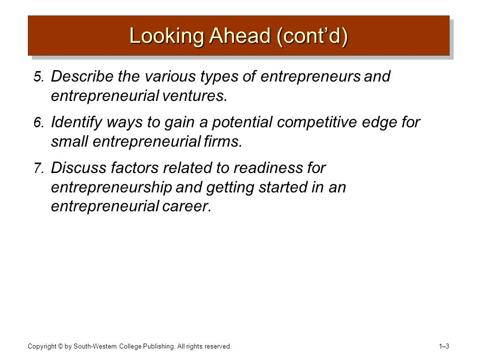 Copyright © by South-Western College Publishing. All rights reserved. 1–31–3 Looking Ahead (cont'd) 5. Describe the various types of entrepreneurs and