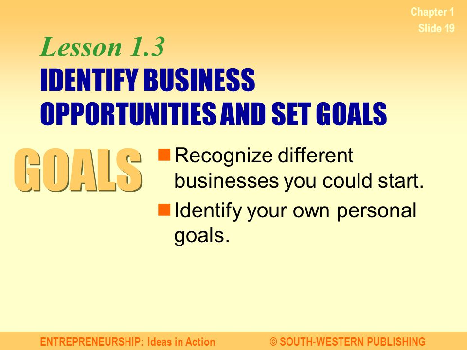 ENTREPRENEURSHIP: Ideas in Action© SOUTH-WESTERN PUBLISHING Chapter 1 Slide 19 Lesson 1.3 IDENTIFY BUSINESS OPPORTUNITIES AND SET GOALS Recognize different businesses you could start.