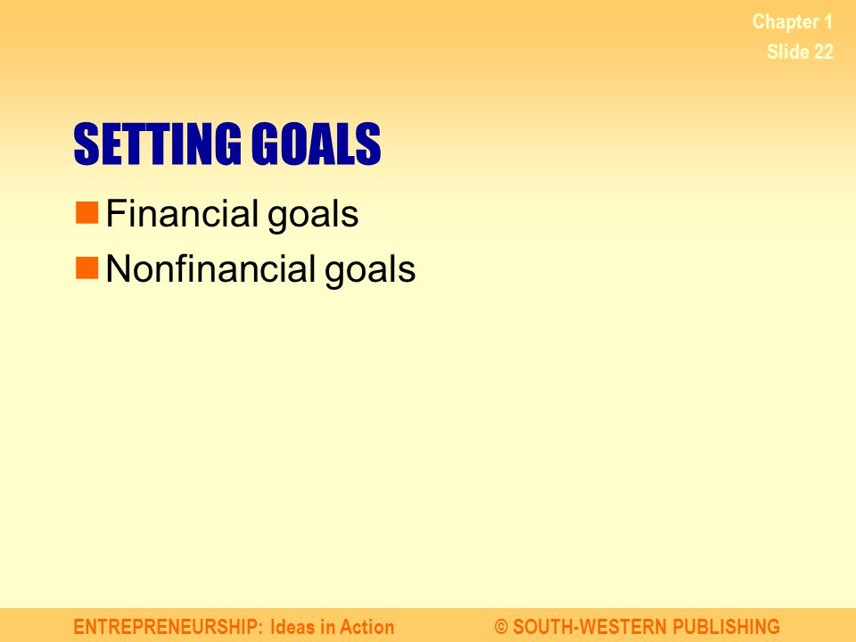 ENTREPRENEURSHIP: Ideas in Action© SOUTH-WESTERN PUBLISHING Chapter 1 Slide 22 SETTING GOALS Financial goals Nonfinancial goals