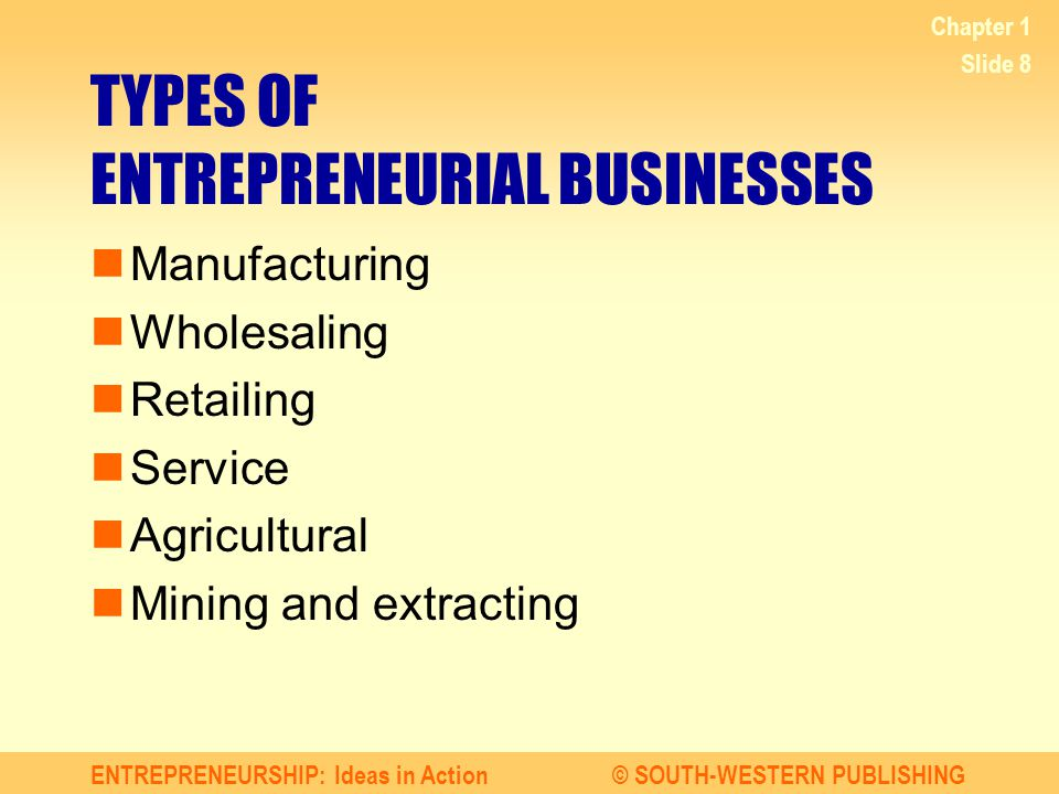 ENTREPRENEURSHIP: Ideas in Action© SOUTH-WESTERN PUBLISHING Chapter 1 Slide 8 TYPES OF ENTREPRENEURIAL BUSINESSES Manufacturing Wholesaling Retailing Service Agricultural Mining and extracting